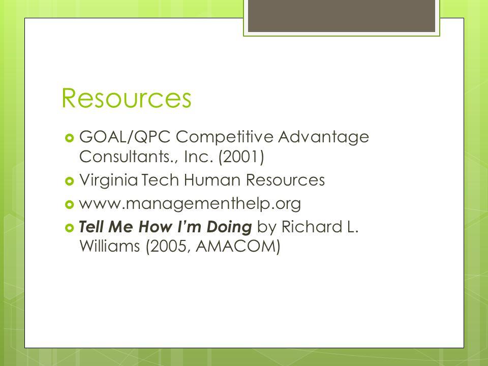 Resources  GOAL/QPC Competitive Advantage Consultants., Inc.