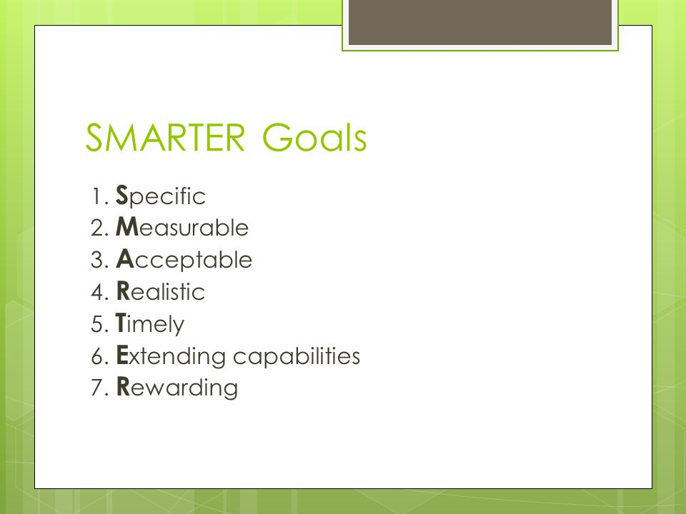 SMARTER Goals 1. S pecific 2. M easurable 3. A cceptable 4.