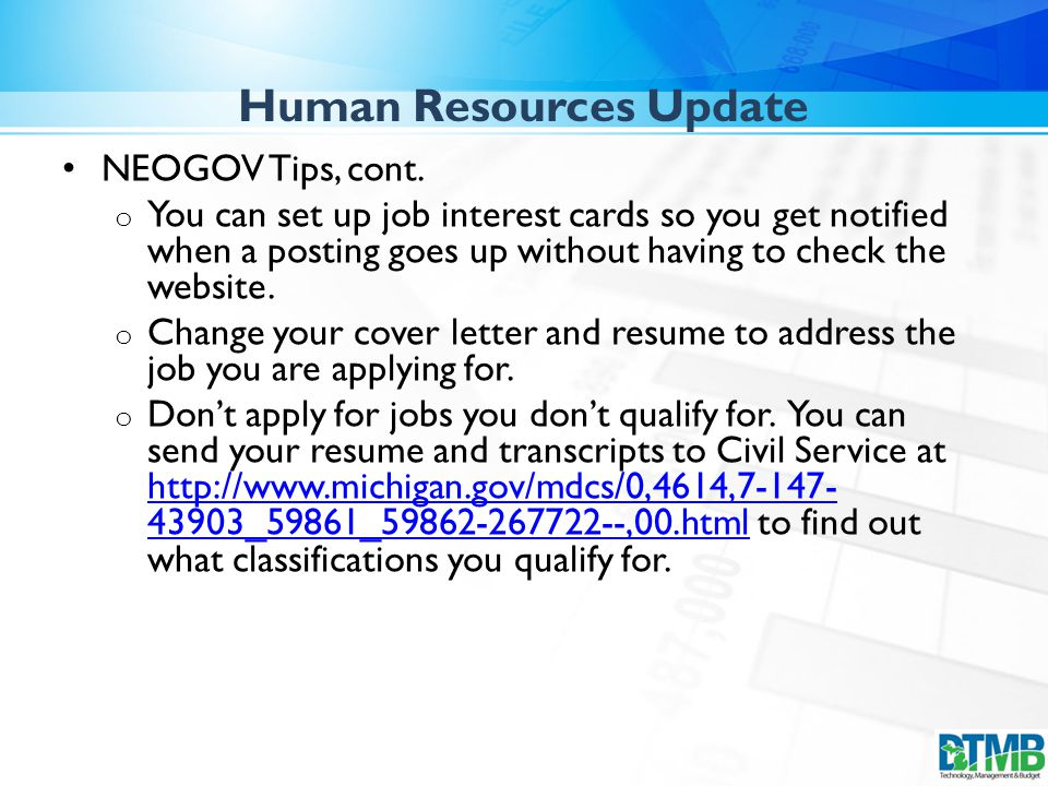 Human Resources Update NEOGOV Tips, cont.