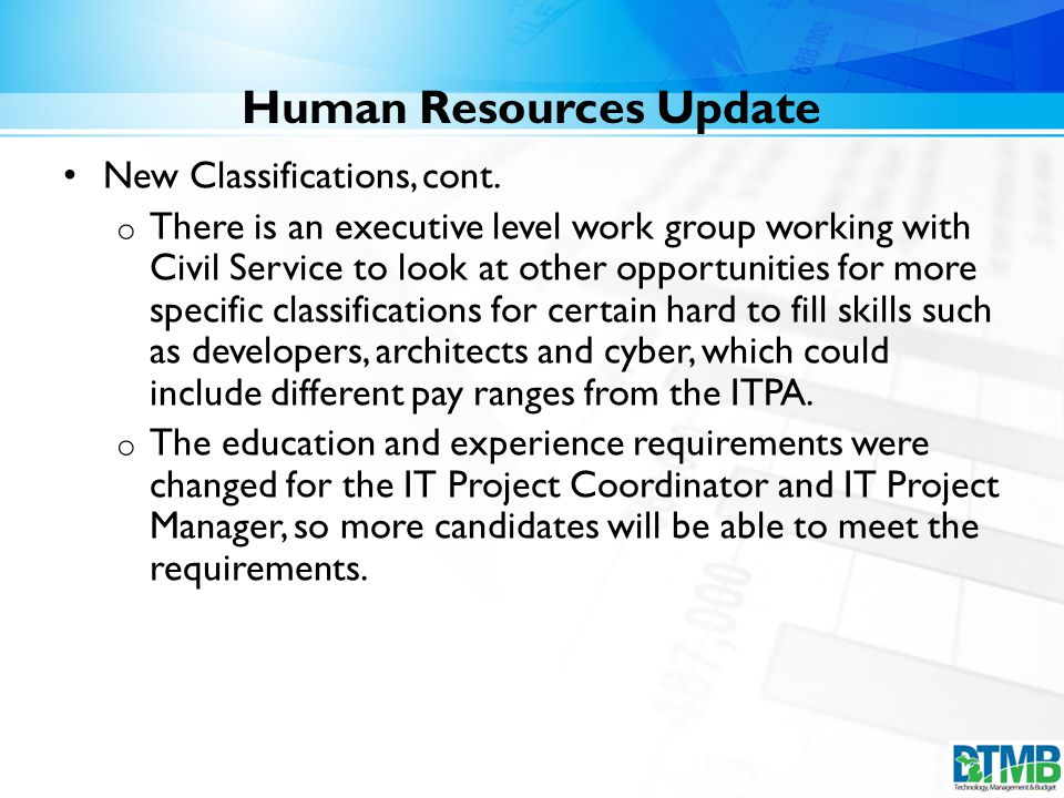 Human Resources Update New Classifications, cont.
