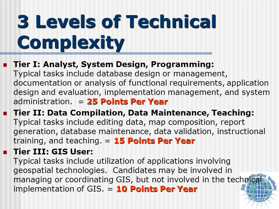 3 Levels of Technical Complexity 25 Points Per Year Tier I: Analyst, System Design, Programming: Typical tasks include database design or management, documentation or analysis of functional requirements, application design and evaluation, implementation management, and system administration.