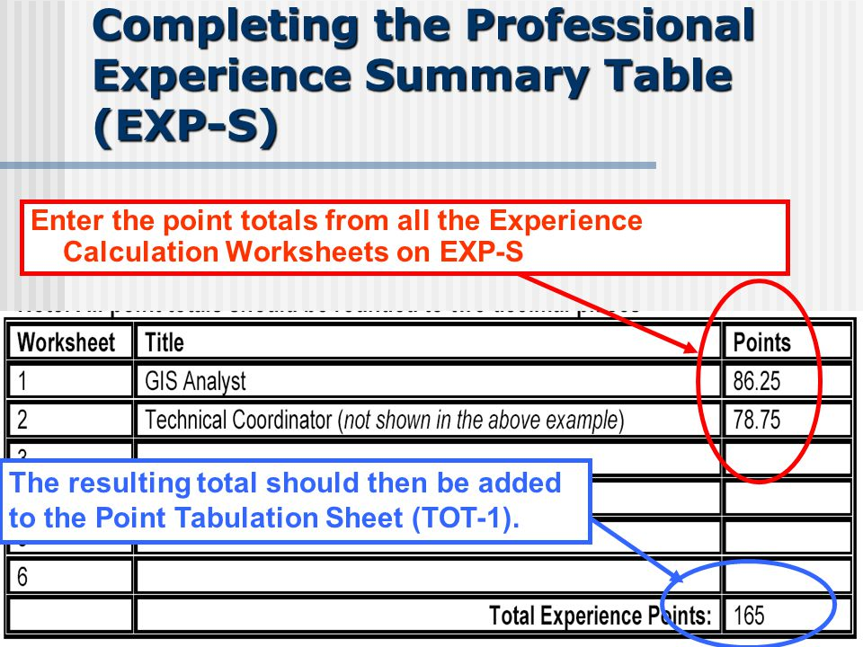 Completing the Professional Experience Summary Table (EXP-S) Enter the point totals from all the Experience Calculation Worksheets on EXP-S The result