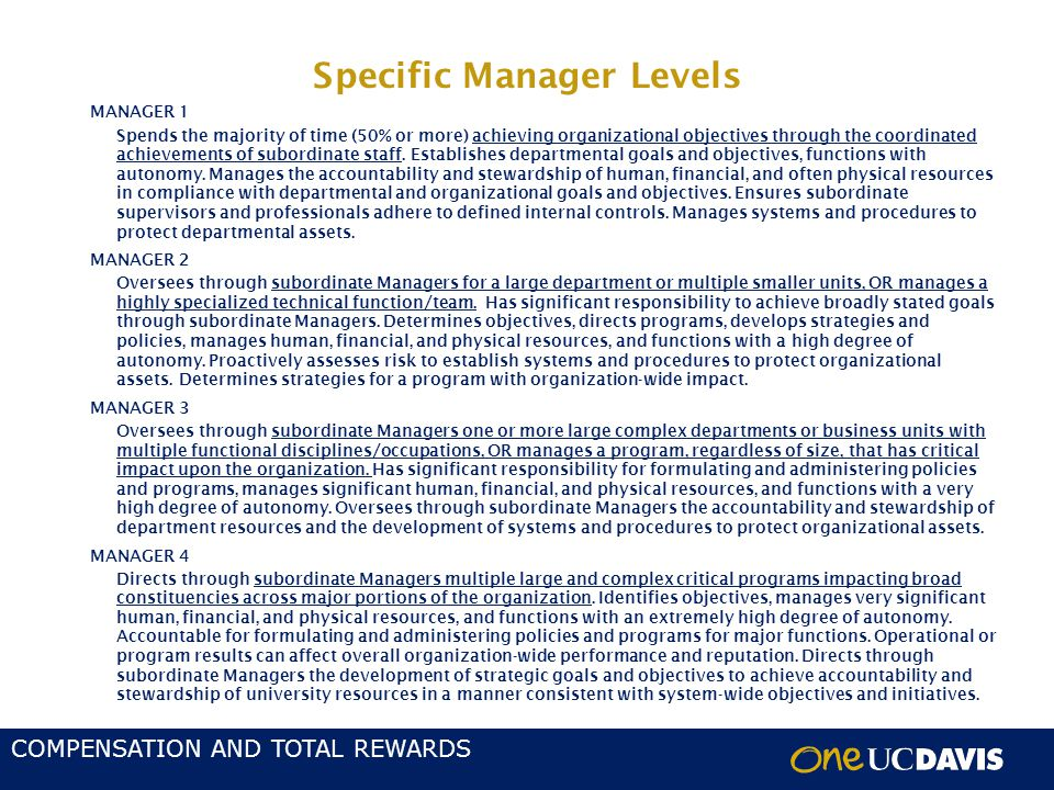 COMPENSATION AND TOTAL REWARDS Specific Manager Levels MANAGER 1 Spends the majority of time (50% or more) achieving organizational objectives through the coordinated achievements of subordinate staff.