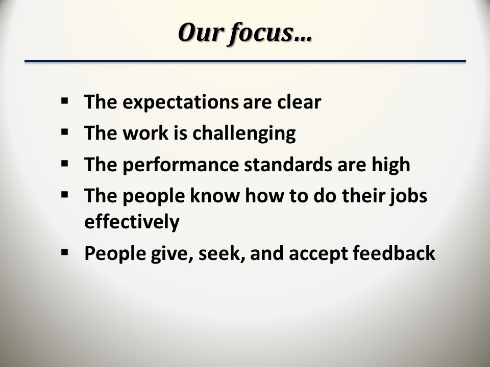 Our focus…  The expectations are clear  The work is challenging  The performance standards are high  The people know how to do their jobs effectively  People give, seek, and accept feedback