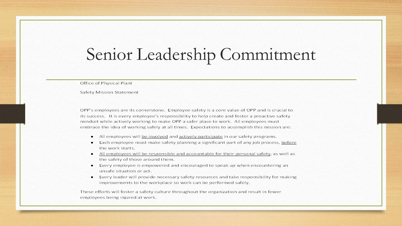 Senior Leadership Commitment