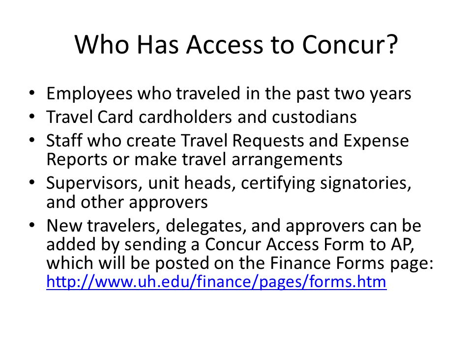 Who Has Access to Concur.
