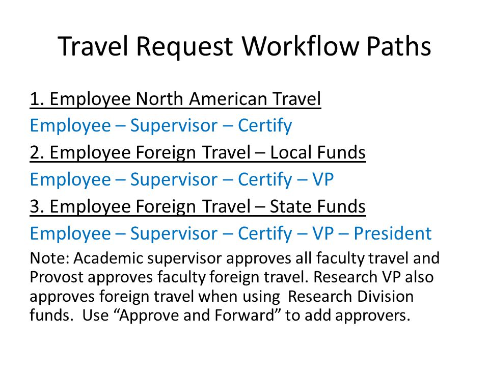 Travel Request Workflow Paths 1. Employee North American Travel Employee – Supervisor – Certify 2.