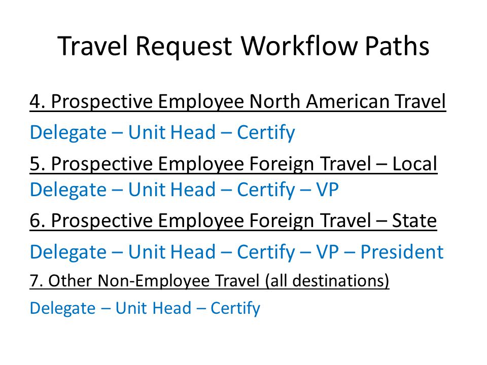 Travel Advance Available for employee foreign travel and group travel (local funds only) Requested on the Travel Request in Concur After TR is fully approved, Travel Advance will go through its own workflow approval Path: Employee – Certifying Signatory – AP After AP approves, nightly feed to UHS Finance System creates pre-approved voucher to issue Travel Advance Concur keeps track of Travel Advance used on Expense Report