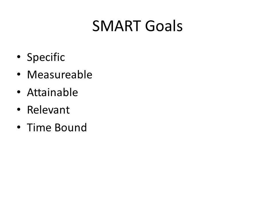 SMART Goals Specific Measureable Attainable Relevant Time Bound