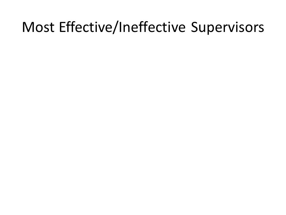 Most Effective/Ineffective Supervisors