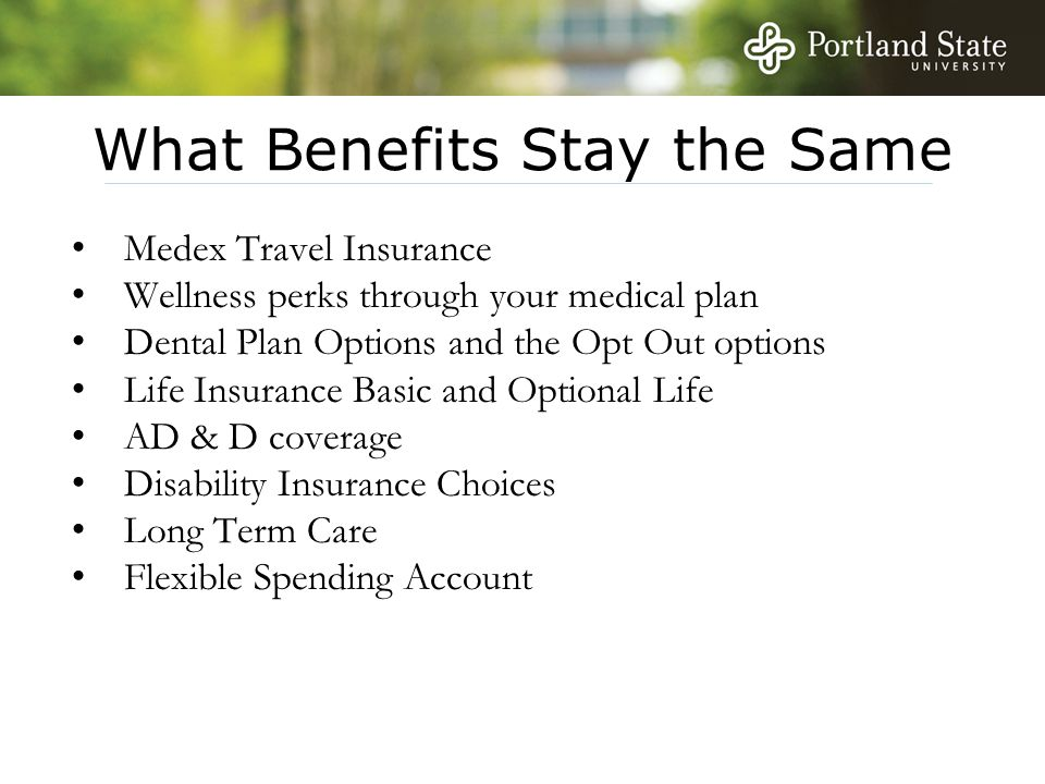 What Benefits Stay the Same Medex Travel Insurance Wellness perks through your medical plan Dental Plan Options and the Opt Out options Life Insurance
