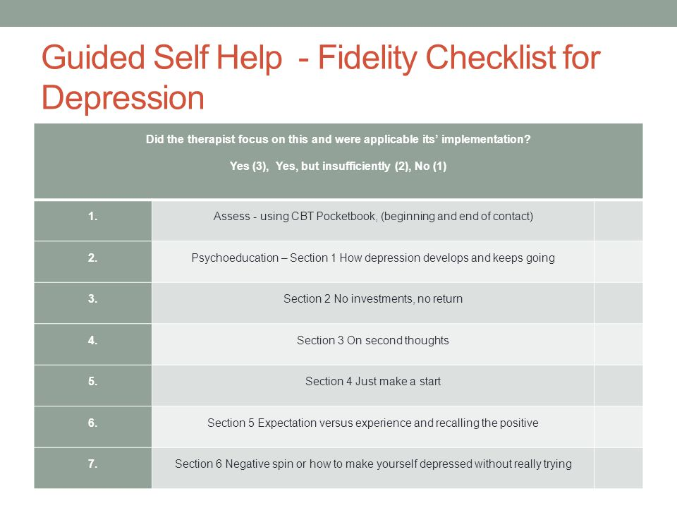 Guided Self Help - Fidelity Checklist for Depression Did the therapist focus on this and were applicable its' implementation? Yes (3), Yes, but insuff
