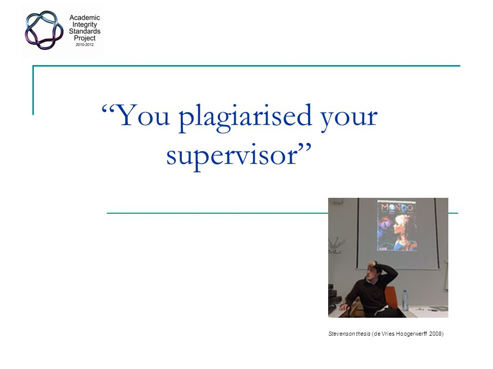 You plagiarised your supervisor Stevenson thesis (de Vries Hoogerwerff 2008)