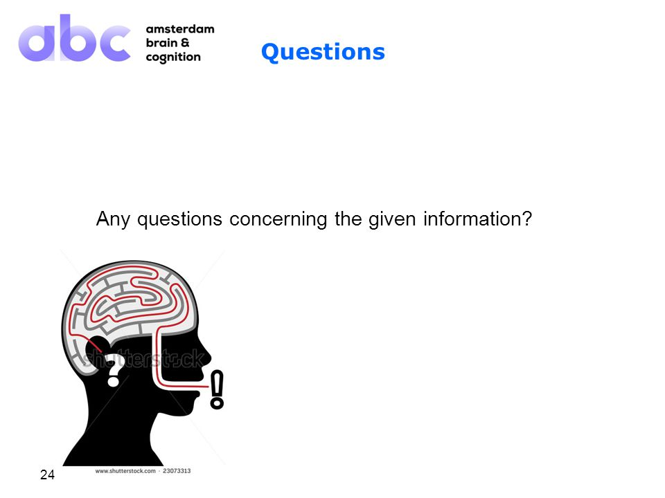 24 Questions Any questions concerning the given information Research project