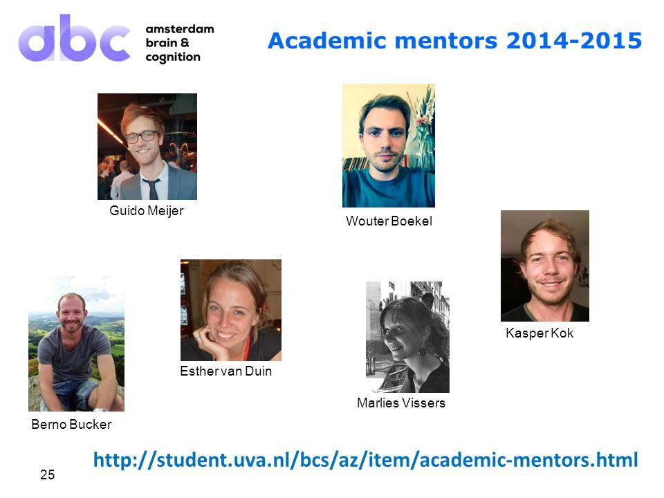 25 Academic mentors 2014-2015 Guido Meijer Wouter Boekel Kasper Kok Marlies Vissers Berno Bucker Esther van Duin http://student.uva.nl/bcs/az/item/academic-mentors.html