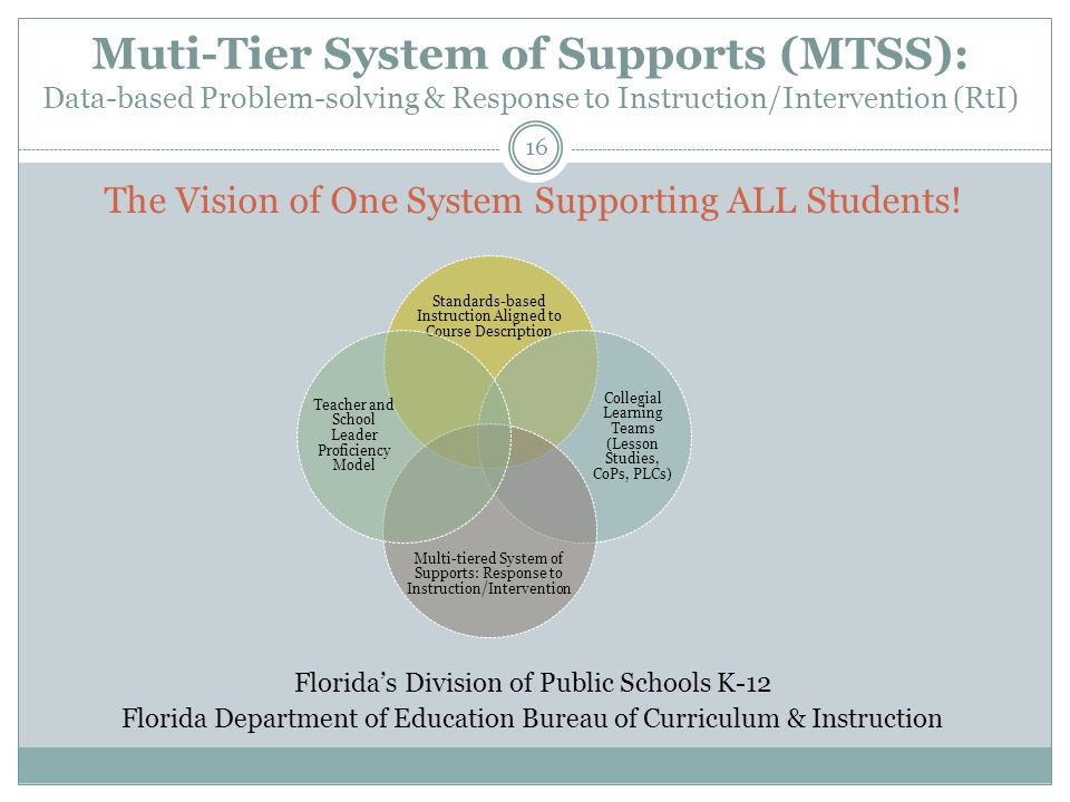 Muti-Tier System of Supports (MTSS): Data-based Problem-solving & Response to Instruction/Intervention (RtI) 16 The Vision of One System Supporting ALL Students.
