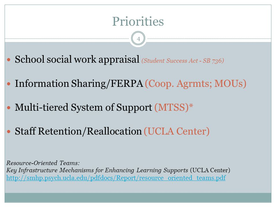 Priorities 4 School social work appraisal (Student Success Act - SB 736) Information Sharing/FERPA (Coop.