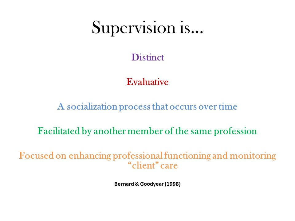 Theory of Supervision A good theory for supervision: Aids in conceptualization Promotes intentionality Can be applied ethically Promotes social justice Promotes the school counseling profession