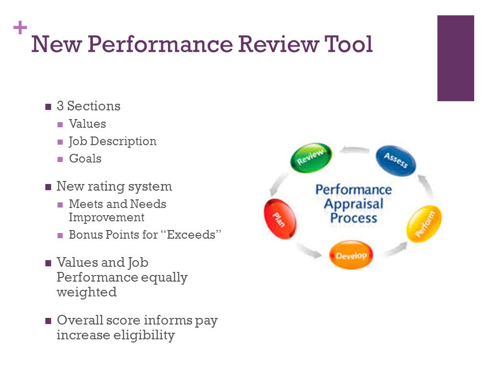 + New Performance Review Tool 3 Sections Values Job Description Goals New rating system Meets and Needs Improvement Bonus Points for Exceeds Values and Job Performance equally weighted Overall score informs pay increase eligibility