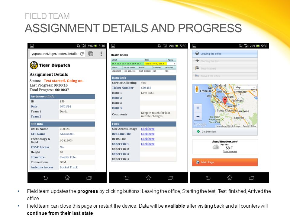 FIELD TEAM ASSIGNMENT DETAILS AND PROGRESS Field team updates the progress by clicking buttons: Leaving the office, Starting the test, Test finished,