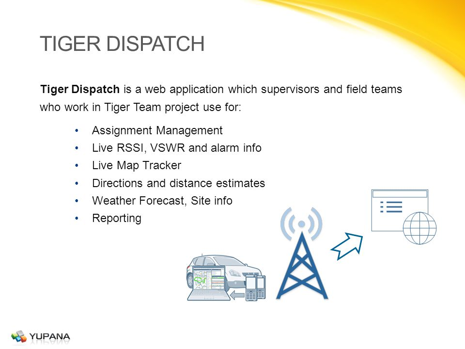 TIGER DISPATCH Tiger Dispatch is a web application which supervisors and field teams who work in Tiger Team project use for: Assignment Management Live RSSI, VSWR and alarm info Live Map Tracker Directions and distance estimates Weather Forecast, Site info Reporting