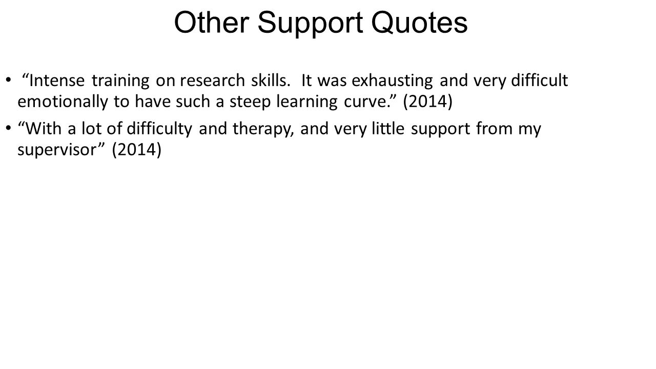 "Other Support Quotes ""Intense training on research skills. It was exhausting and very difficult emotionally to have such a steep learning curve."" (201"