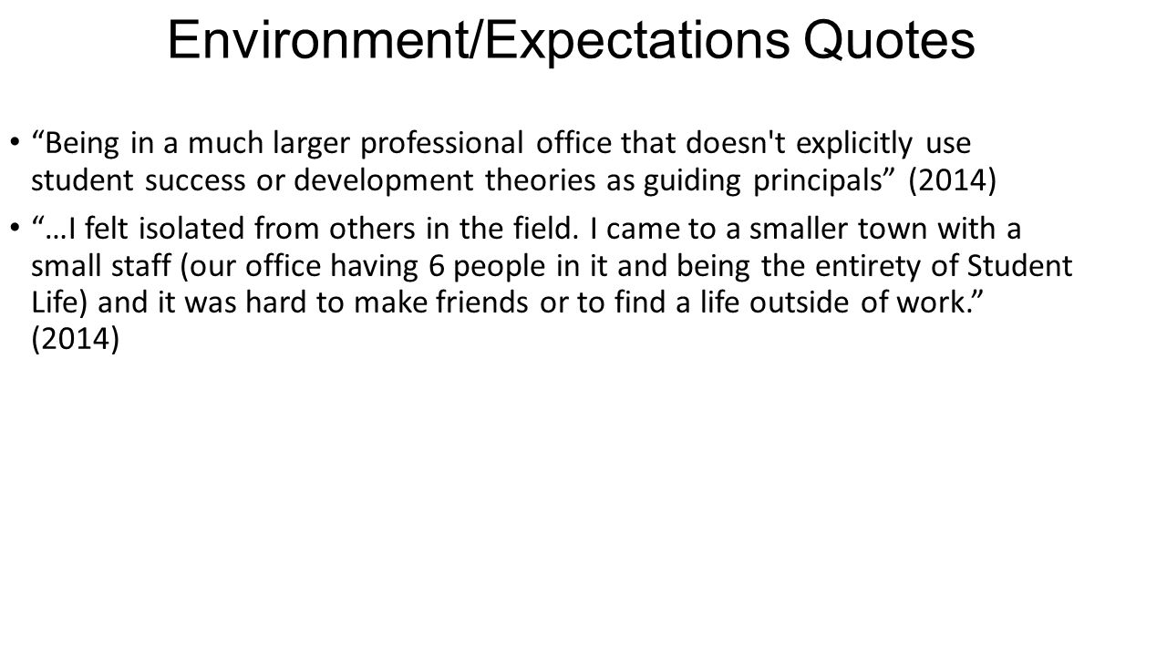 "Environment/Expectations Quotes ""Being in a much larger professional office that doesn't explicitly use student success or development theories as gui"