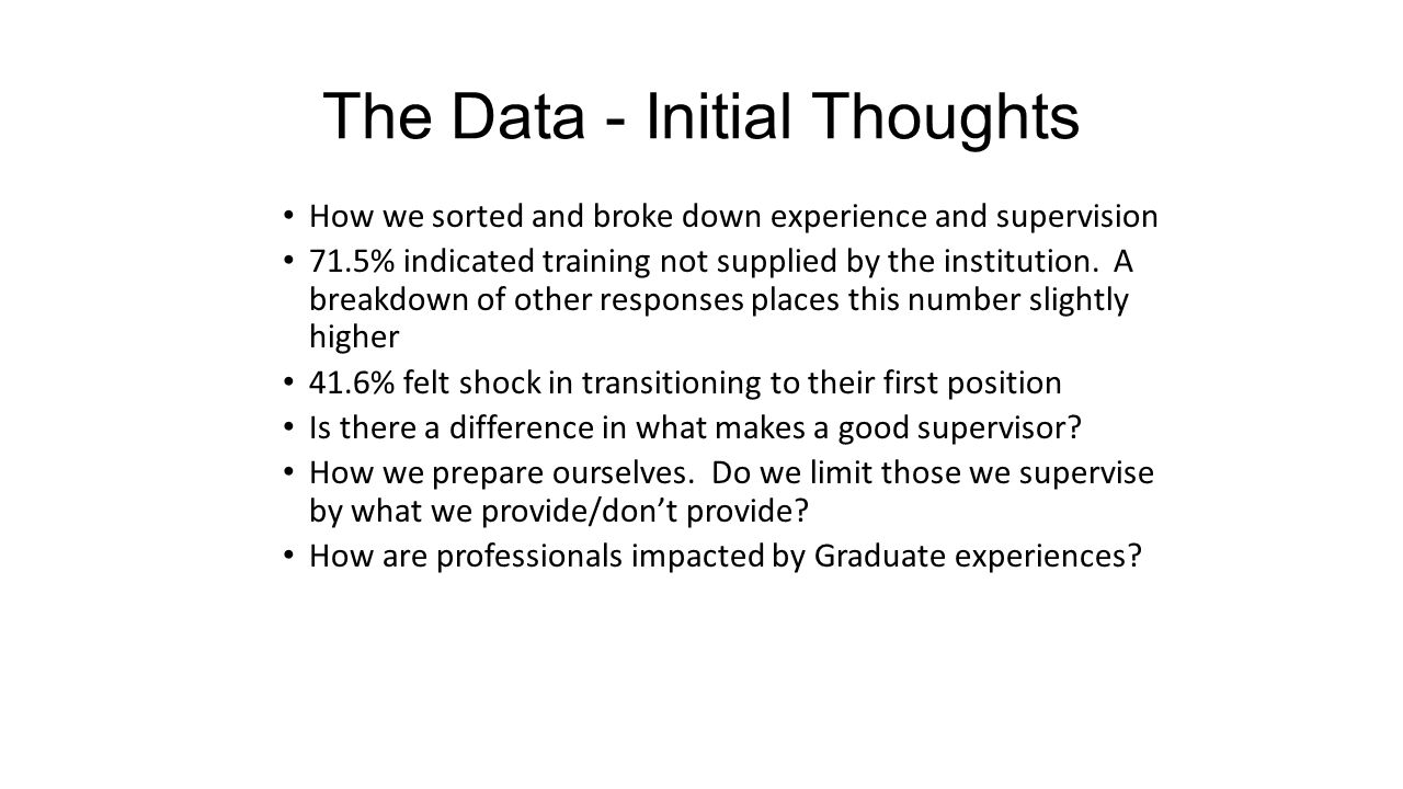 The Data - Initial Thoughts How we sorted and broke down experience and supervision 71.5% indicated training not supplied by the institution. A breakd