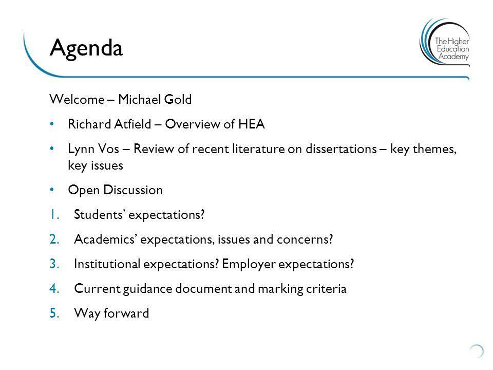 Welcome – Michael Gold Richard Atfield – Overview of HEA Lynn Vos – Review of recent literature on dissertations – key themes, key issues Open Discussion 1.Students' expectations.