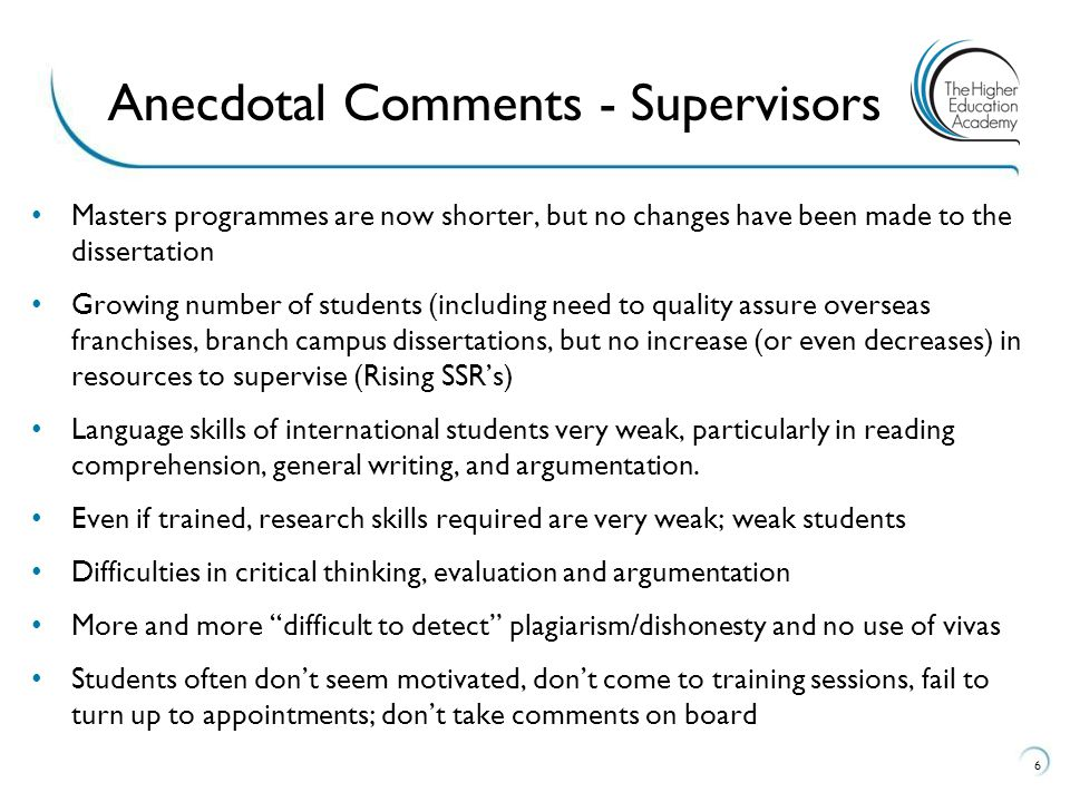 .different supervisors expect different things of their students, have different approaches, differences in what they view as important (students talking to each other!).waiting long periods for feedback.meetings often too short.hard to contact supervisor.how do I choose the best research method?.what does it mean to take a theoretical perspective , to be critical ?].I don't understand what my supervisor is saying….