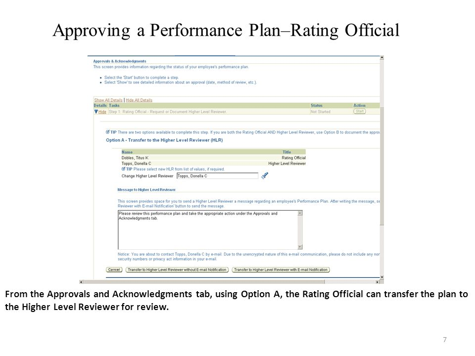 7 Approving a Performance Plan–Rating Official From the Approvals and Acknowledgments tab, using Option A, the Rating Official can transfer the plan to the Higher Level Reviewer for review.