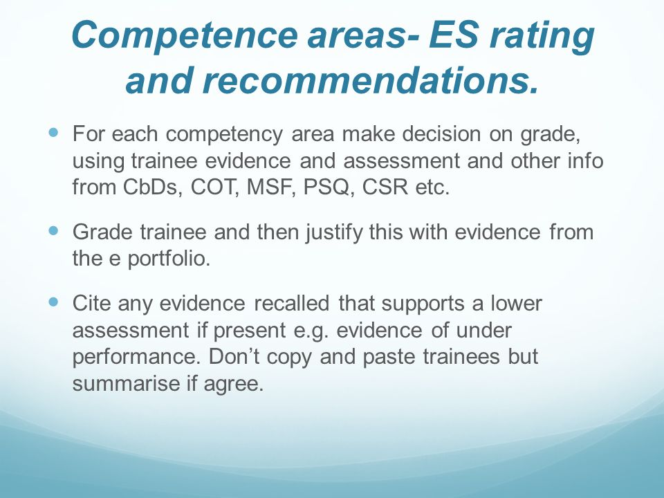 Competence areas- ES rating and recommendations.