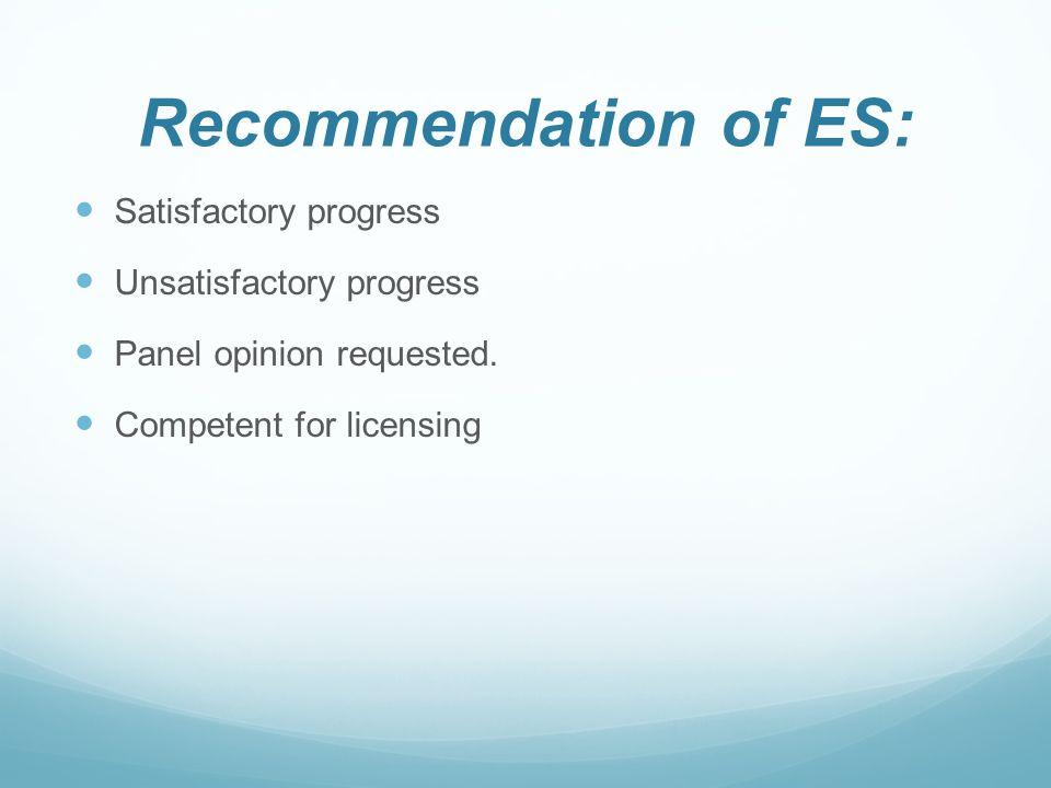 Recommendation of ES: Satisfactory progress Unsatisfactory progress Panel opinion requested.