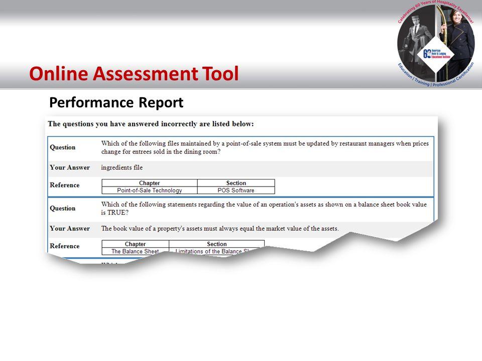Performance Report Online Assessment Tool