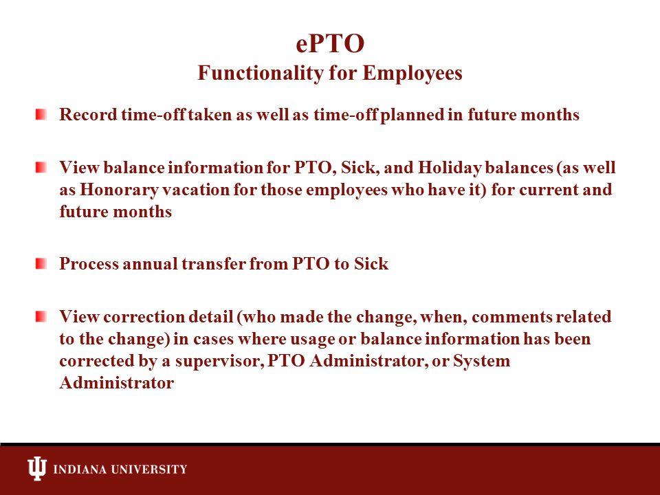 ePTO Employee – Calendar Screen