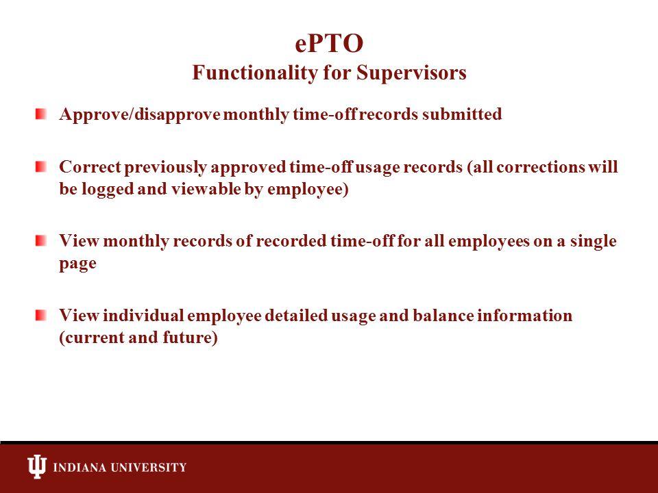 ePTO Supervisor – Approval Screen