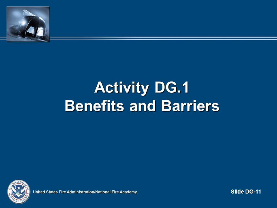 Activity DG.1 Benefits and Barriers Slide DG-11