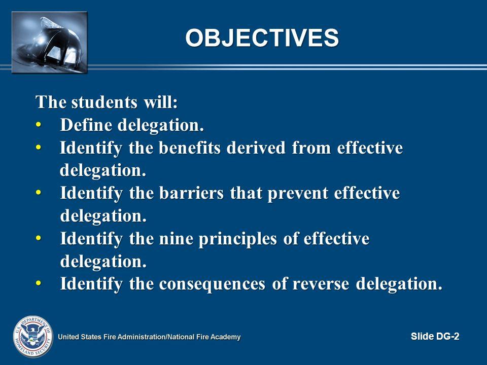 OBJECTIVES The students will: Define delegation. Define delegation. Identify the benefits derived from effective delegation. Identify the benefits der