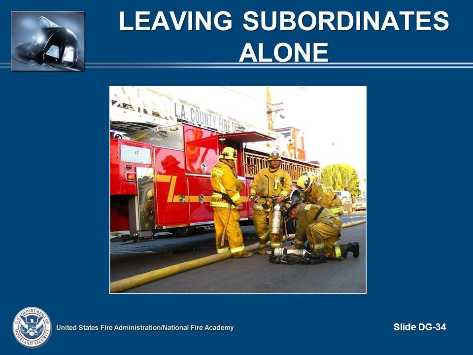 LEAVING SUBORDINATES ALONE Slide DG-34