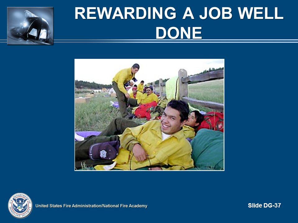 REWARDING A JOB WELL DONE Slide DG-37