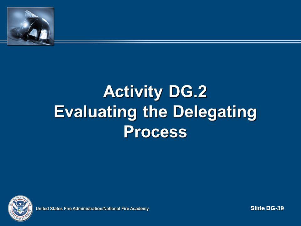 Activity DG.2 Evaluating the Delegating Process Slide DG-39