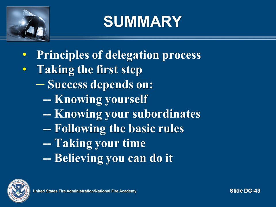 SUMMARY Principles of delegation process Principles of delegation process Taking the first step Taking the first step – Success depends on: -- Knowing