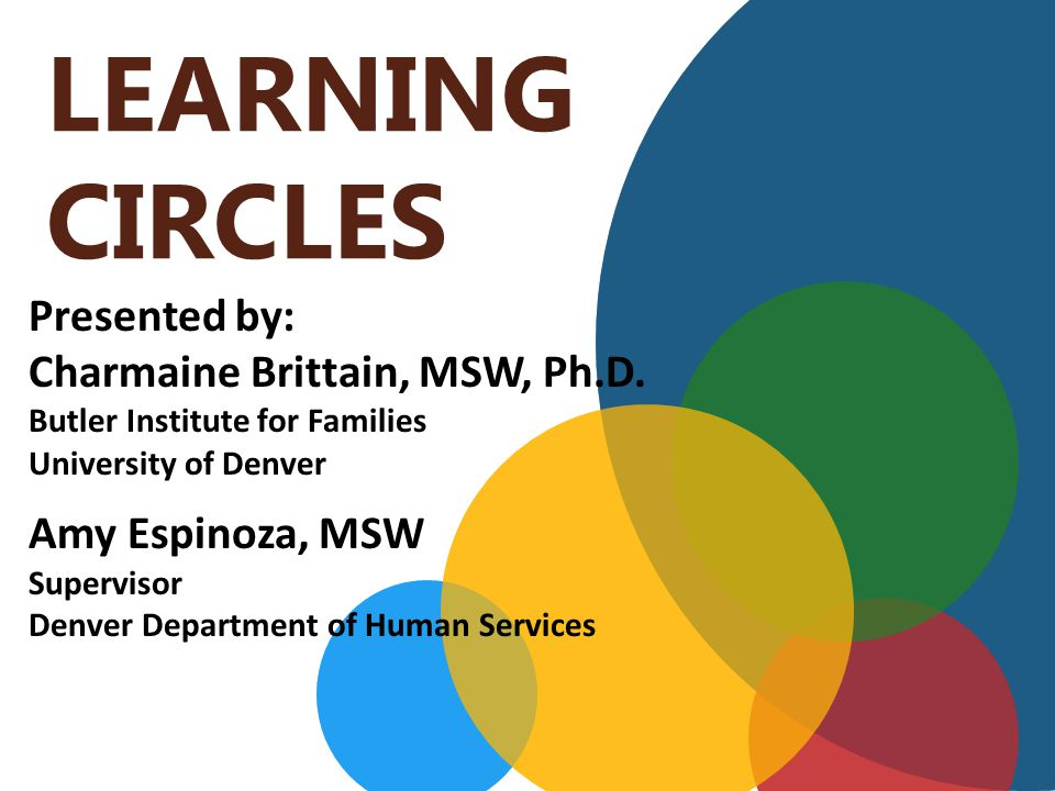 LEARNING CIRCLES Presented by: Charmaine Brittain, MSW, Ph.D.