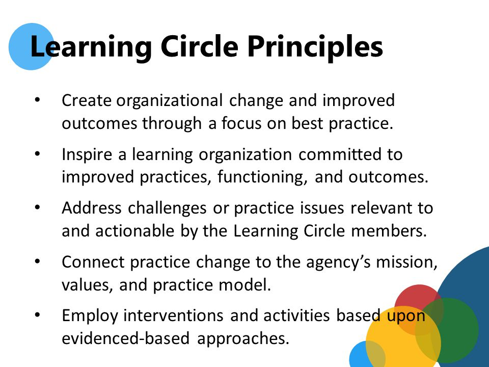 Learning Circle Principles Empower circle members to improve practice for more positive organizational climate and client outcomes.