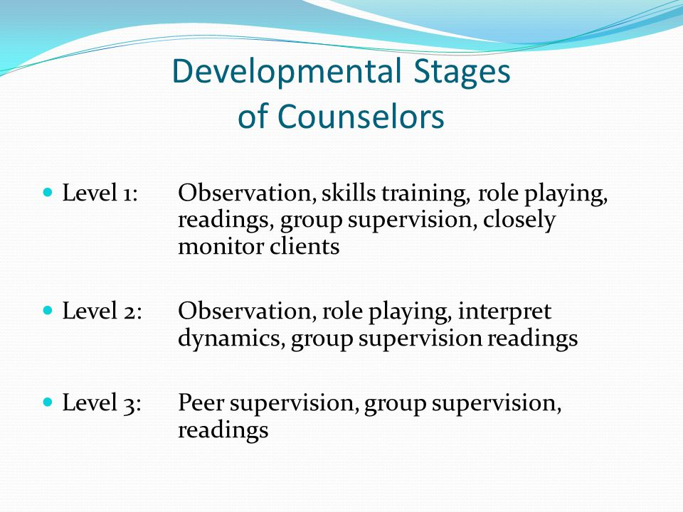 Developmental Stages of Counselors Level 1:Observation, skills training, role playing, readings, group supervision, closely monitor clients Level 2:Observation, role playing, interpret dynamics, group supervision readings Level 3:Peer supervision, group supervision, readings