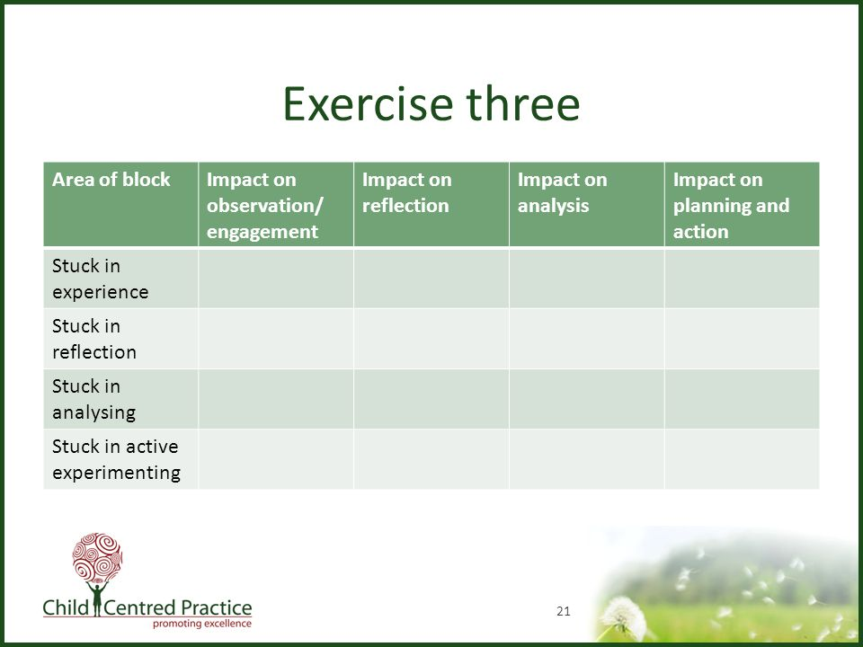 Exercise three Area of blockImpact on observation/ engagement Impact on reflection Impact on analysis Impact on planning and action Stuck in experience Stuck in reflection Stuck in analysing Stuck in active experimenting 21