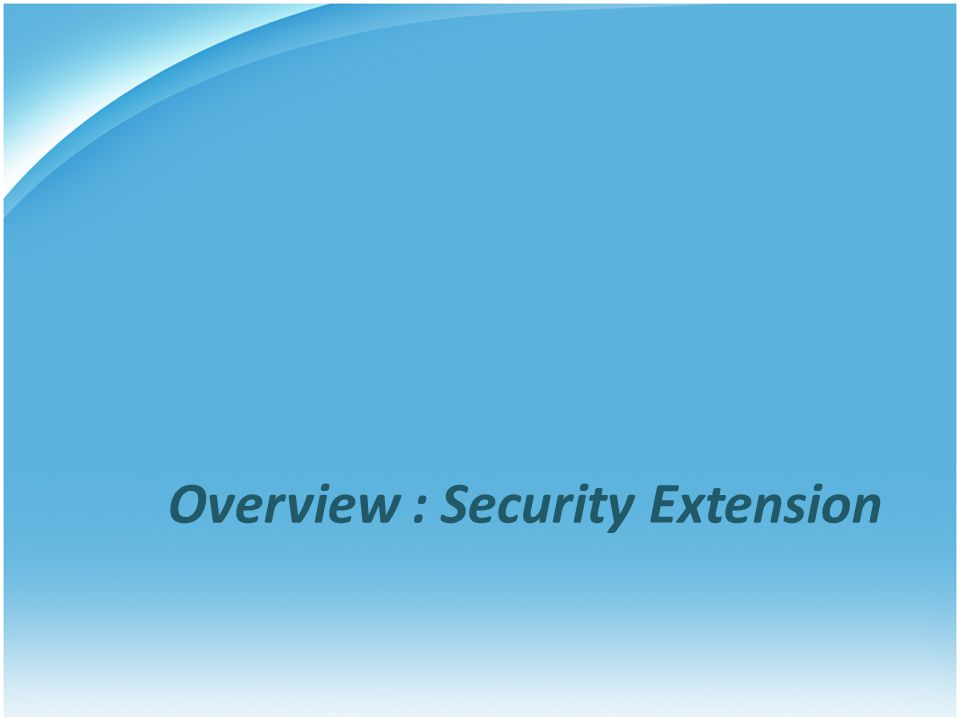 Overview : Security Extension