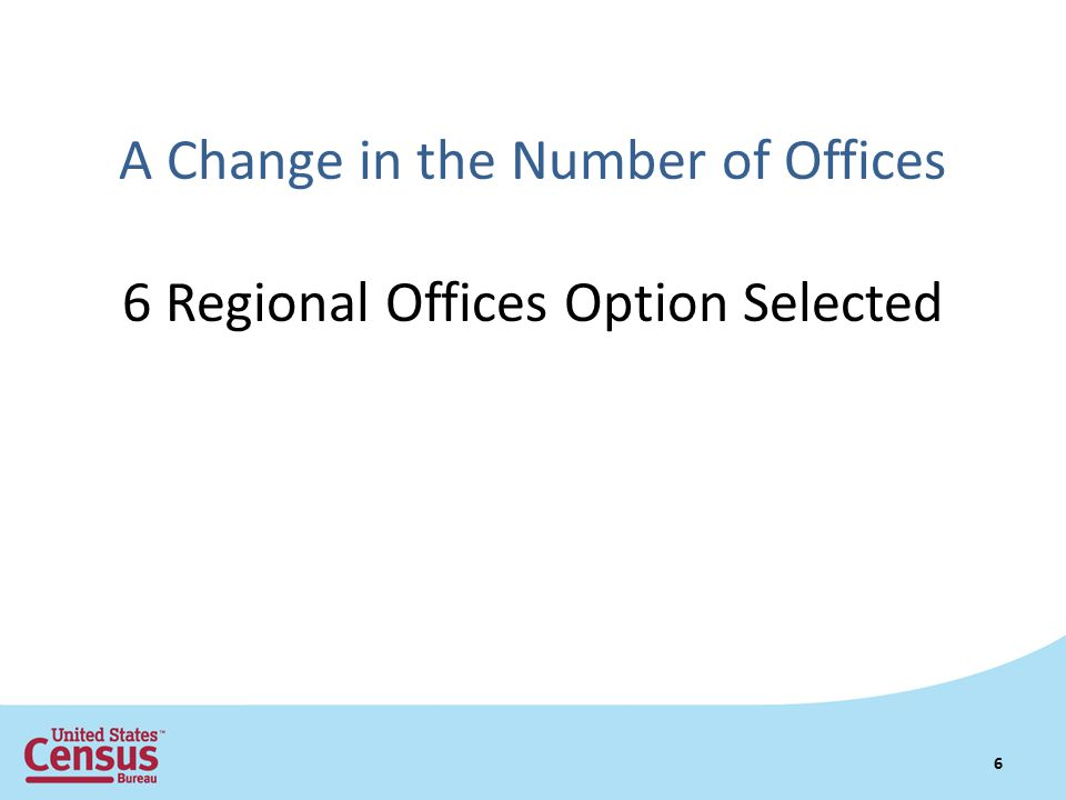 A Change in the Number of Offices 6 Regional Offices Option Selected 6