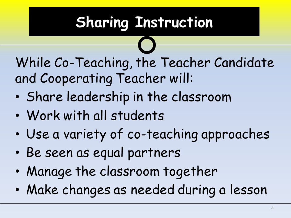 Sharing Assessment While Co-Assessing, the Teacher Candidate and Cooperating Teacher will: Both participate in the assessment of the students Share the workload of daily grading Provide formative and summative assessment of students Jointly determine grades 5 Sharing Assessment