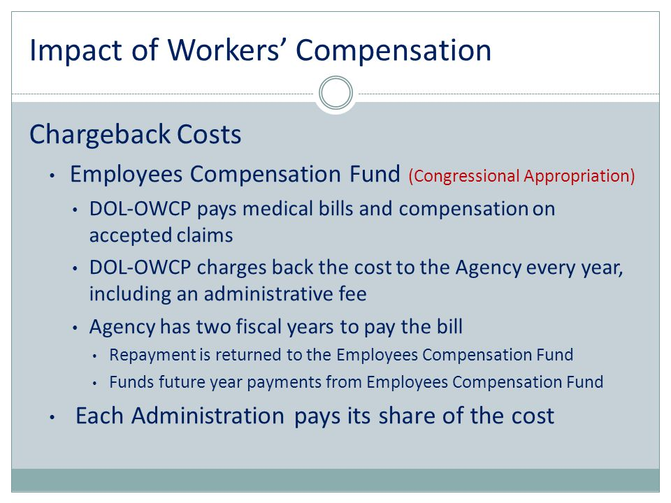 Impact of Workers' Compensation Chargeback Costs Employees Compensation Fund (Congressional Appropriation) DOL-OWCP pays medical bills and compensatio